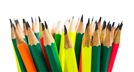 brightly colored pencils